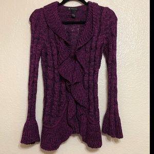 INC Black and Purple Cardigan Ruffle Size M
